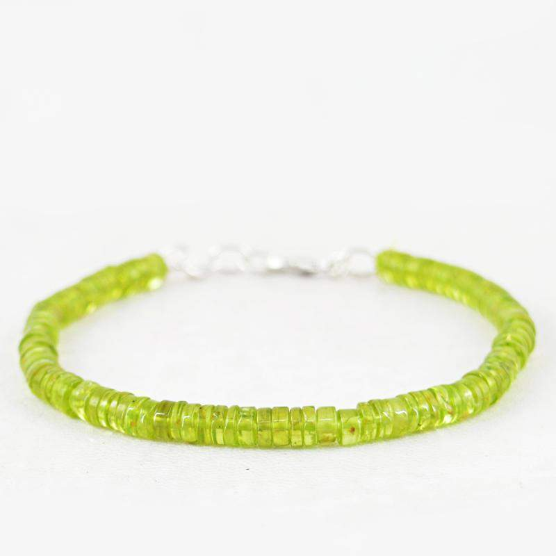 gemsmore:Green Peridot Bracelet Natural Round Shape Beads