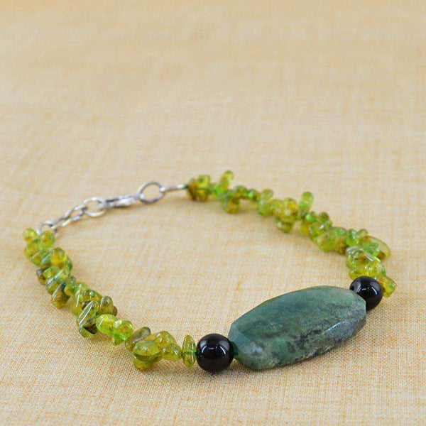 gemsmore:Green Peridot & Green Moss Agate Bracelet Natural Untreated Beads