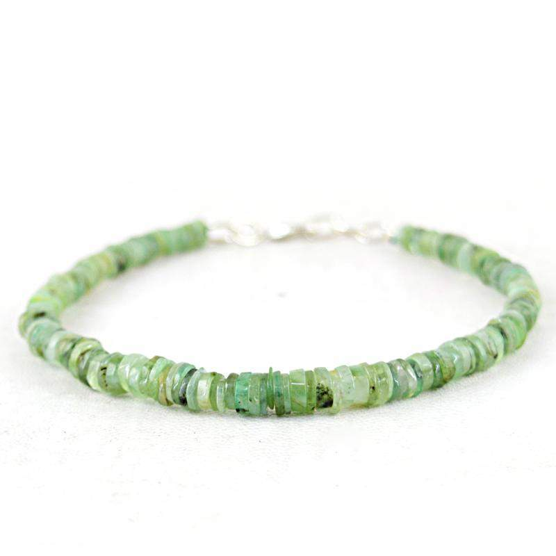 gemsmore:Green Phrenite Bracelet Natural Round Shape Beads