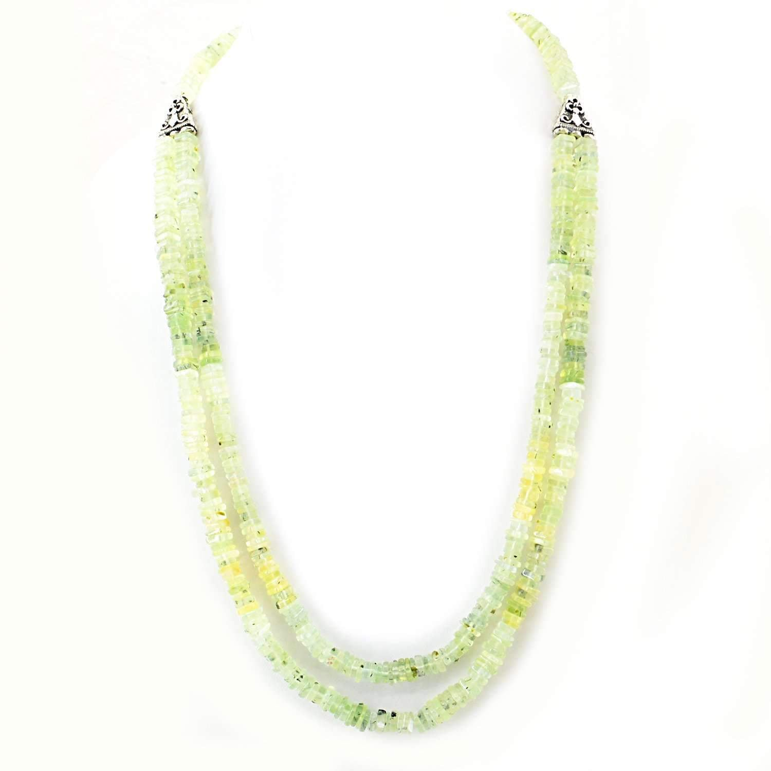 gemsmore:Green Phrenite Necklace Natural 2 Strand Unheated Beads - Lowest Price