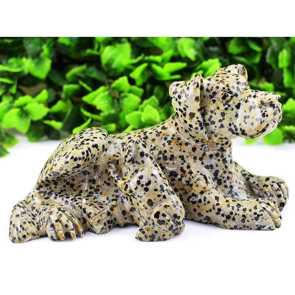 gemsmore:Hand Carved Dalmation Jasper Doggy And Puppy