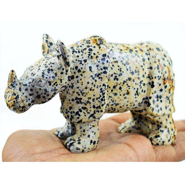 gemsmore:Hand Carved Dalmation Jasper Rhino - Exclusive