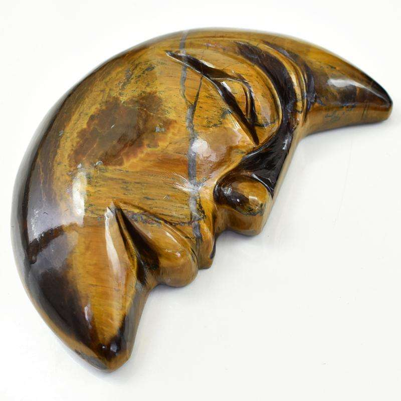 gemsmore:Hand Carved Golden Tiger Eye Moon Face