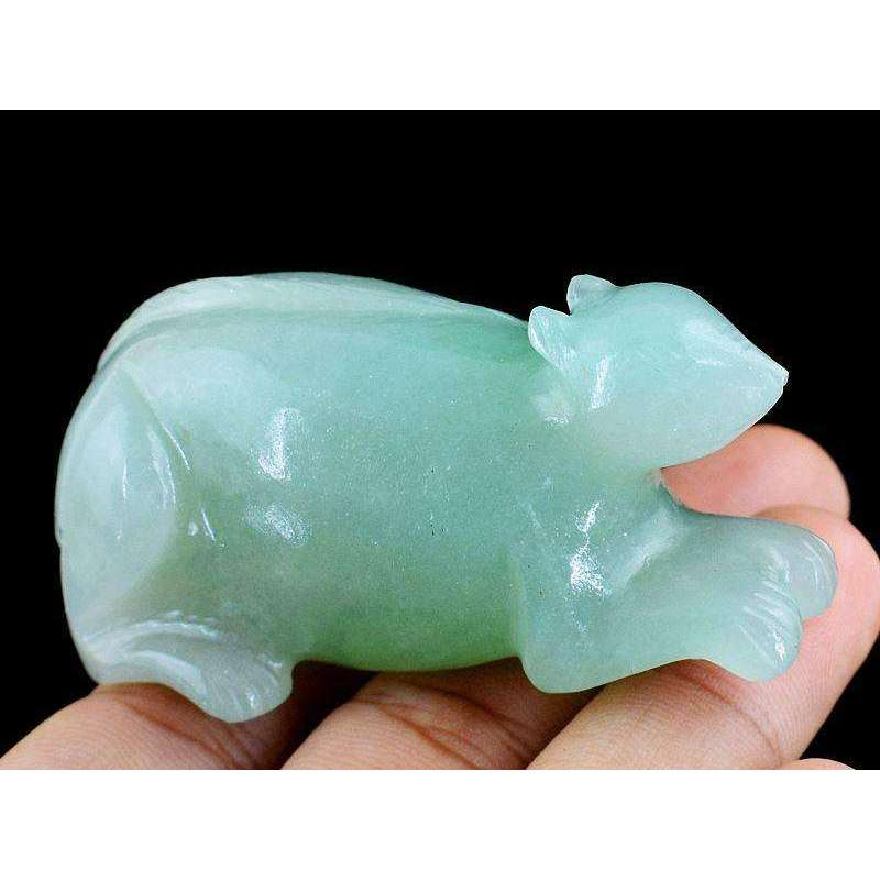gemsmore:Hand Carved Green Aventurine Mouse - Exclusive