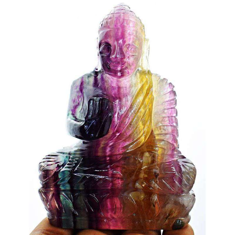 gemsmore:Hand Carved Multicolor Fluorite Lord Buddha Idol Statue