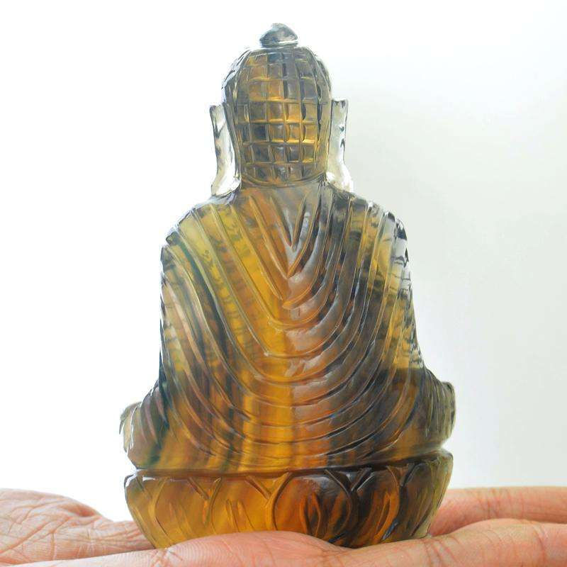 gemsmore:Hand Carved Multicolor Fluorite Lord Buddha Idol