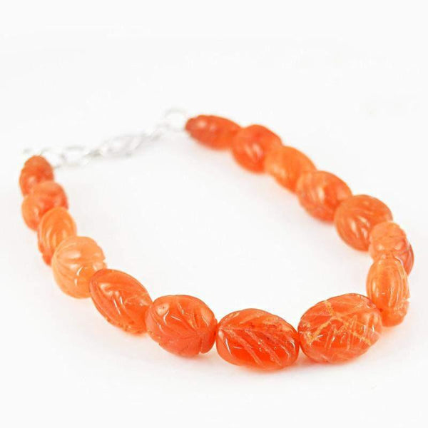 gemsmore:Hand Carved Orange Carnelian Bracelet Natural Beads