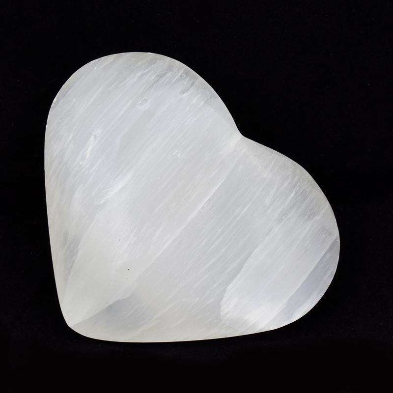 gemsmore:Hand Carved Selenite Heart Shape Cabochon
