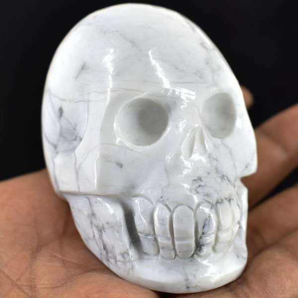 gemsmore:Hand Carved White Howlite Human Skull Gemstone