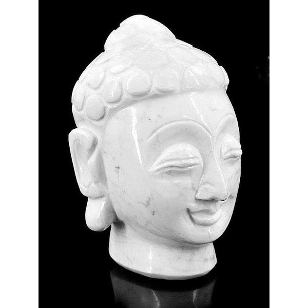 gemsmore:Howlite Hand Carved Lord Buddha Head Idol
