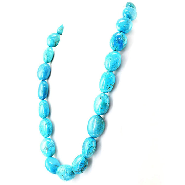 gemsmore:Howlite Necklace Natural 20 Inches Long Oval Shape Huge Beads - Best Quality