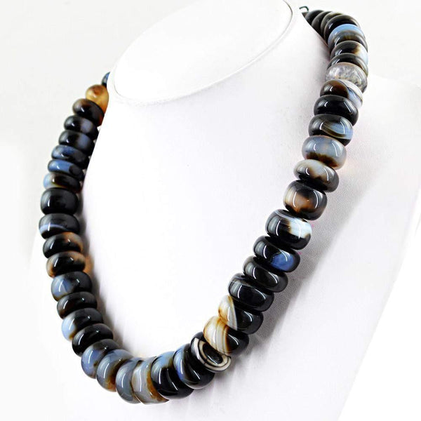 gemsmore:Huge Natural Black Onyx Necklace Round Shape Beads