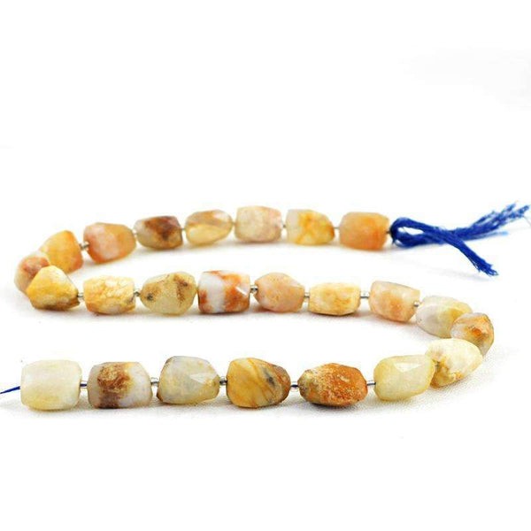 gemsmore:Indian Opal Drilled Beads Strand Natural Faceted