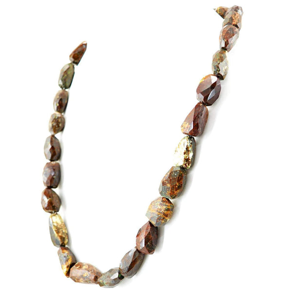 gemsmore:Jasper Necklace Natural Single Strand Untreated Faceted Beads