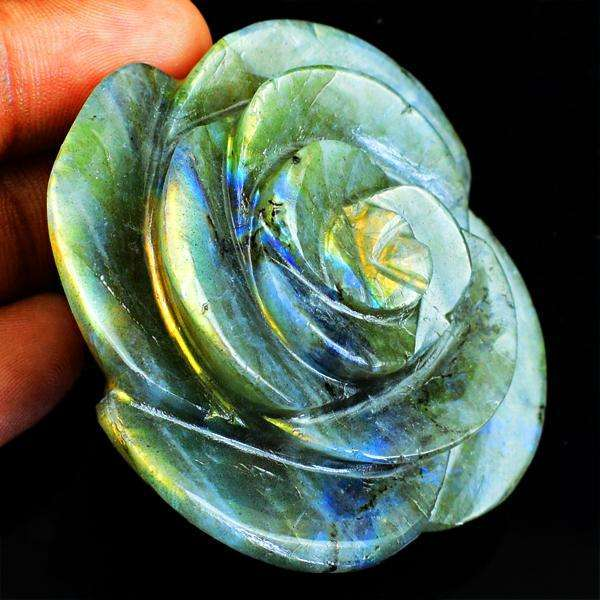 gemsmore:Mesmerising Hand Carved Golden Flash Labradorite Rose