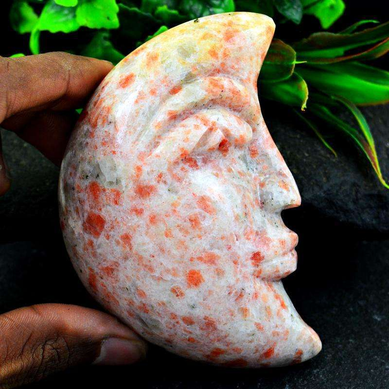 gemsmore:Mesmerizing Sunstone Hand Carved Moon Face