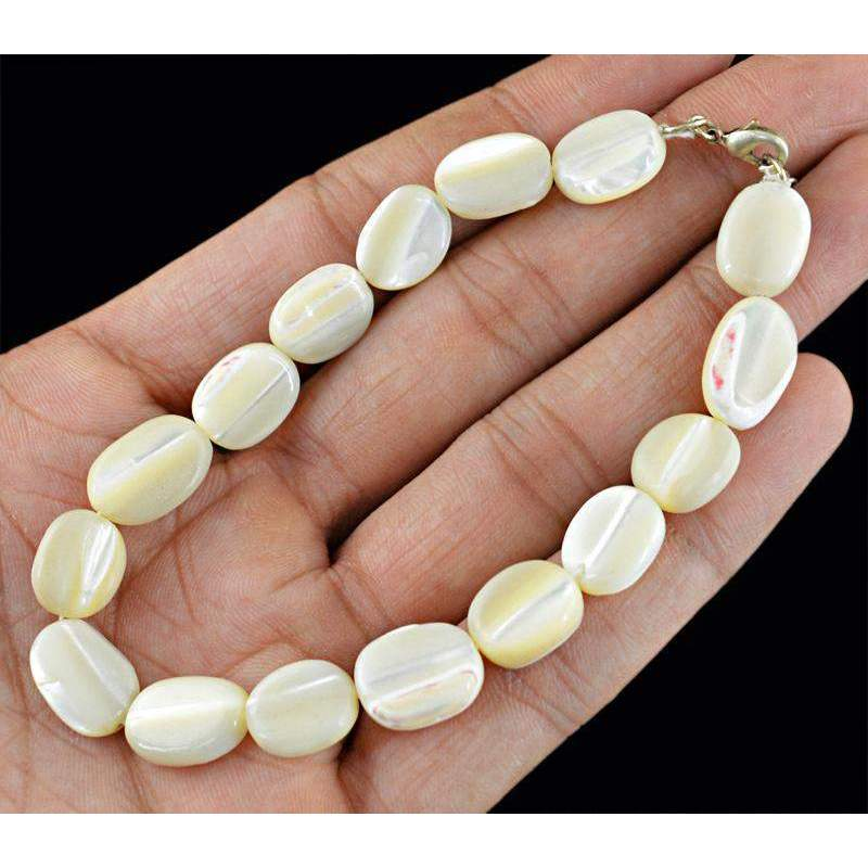 gemsmore:Mother Pearl Bracelet Natural Oval Shape Untreated Beads