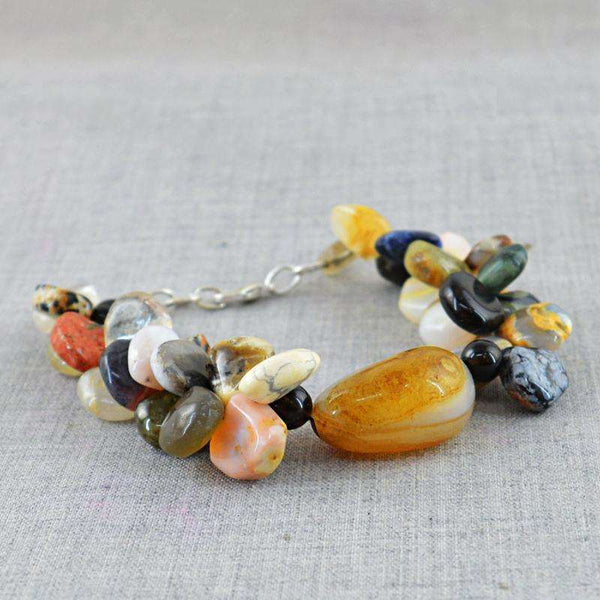 gemsmore:Multi Gemstone & Onyx Beads Bracelet - Natural Pear Shape
