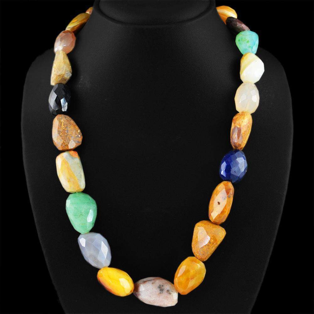 gemsmore:Multicolor Agate Gemstone Necklace Natural Faceted Beads