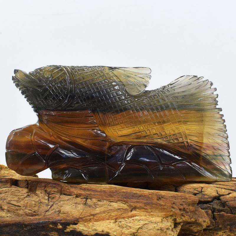 gemsmore:Multicolor Fluorite Finely Hand Carved Fish on Rock