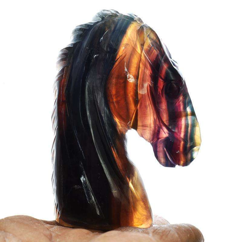 gemsmore:Multicolor Fluorite Hand Carved Horse Head