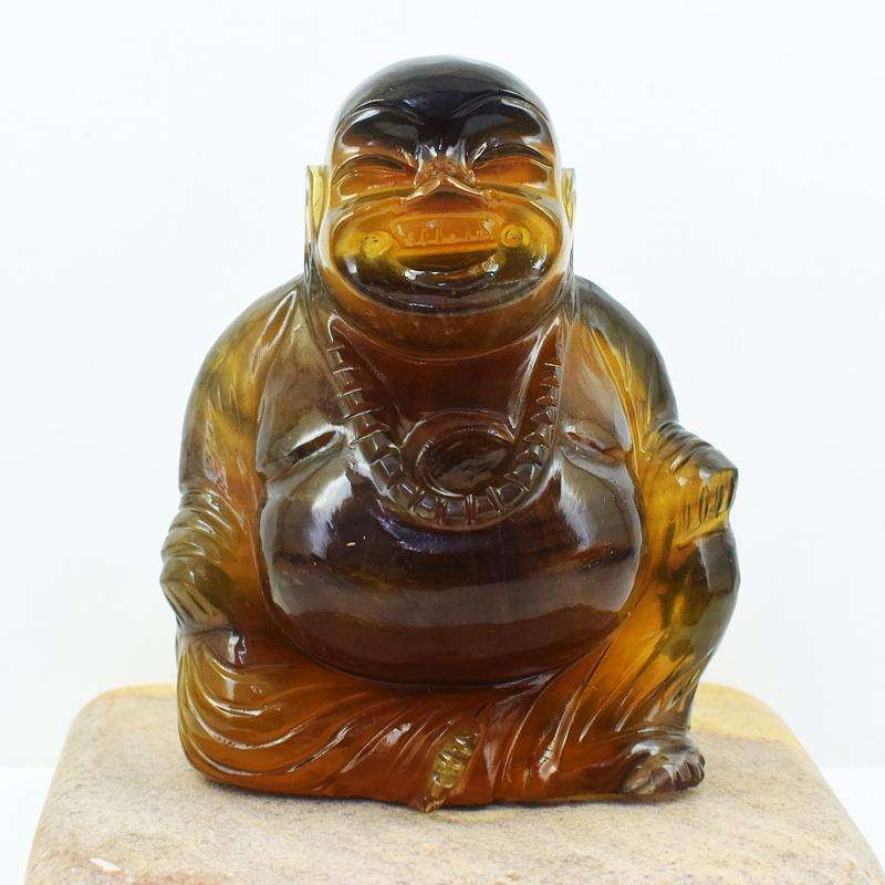 gemsmore:Multicolor Fluorite Hand Carved Laughing Buddha Idol