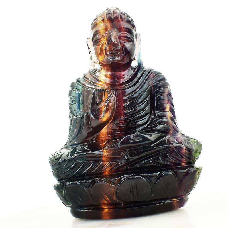 gemsmore:Multicolor Fluorite Hand Carved Lord Buddha Idol
