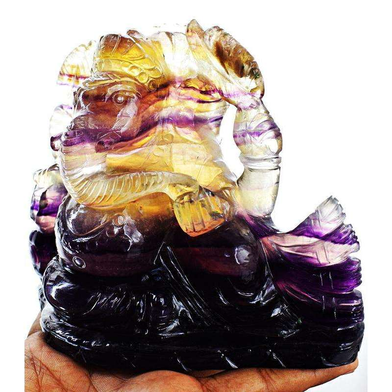 gemsmore:Multicolor Fluorite Hand Carved Lord Ganesha Idol Statue