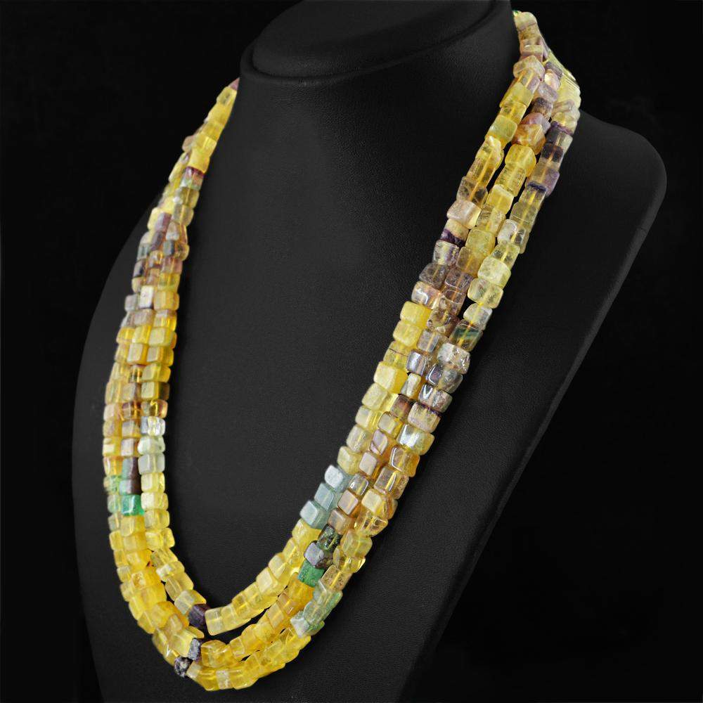 gemsmore:Multicolor Fluorite Necklace Natural 3 Line Untreated Beads