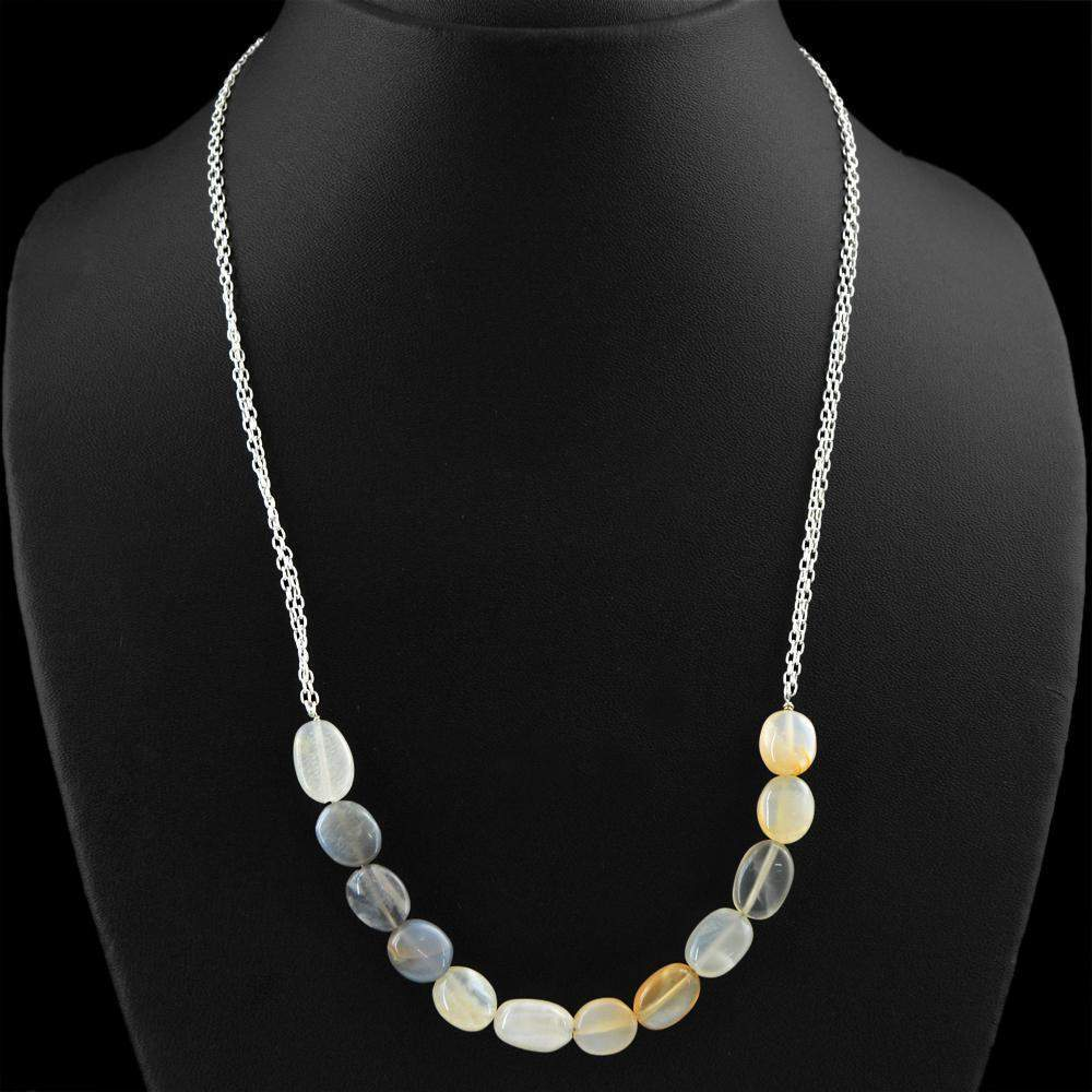 gemsmore:Multicolor Moonstone Necklace Natural Oval Shape Beads