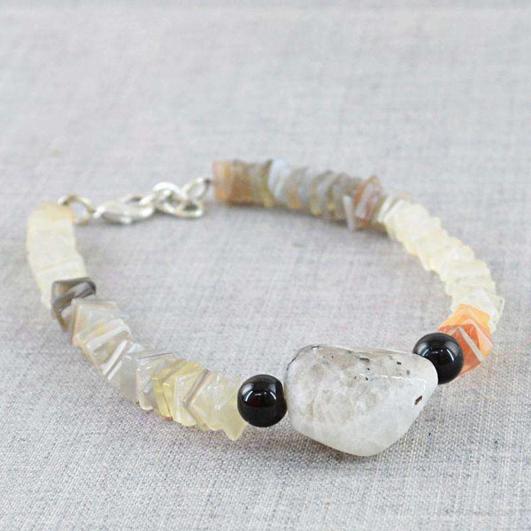 gemsmore:Multicolor Moonstone & Smoky Quartz Bracelet Natural Untreated Beads