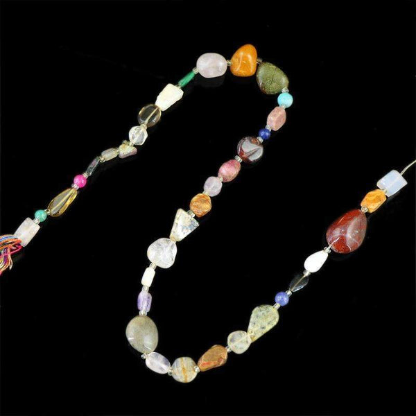 gemsmore:Multicolor Multi Gemstone Beads Strand Natural Untreated Drilled