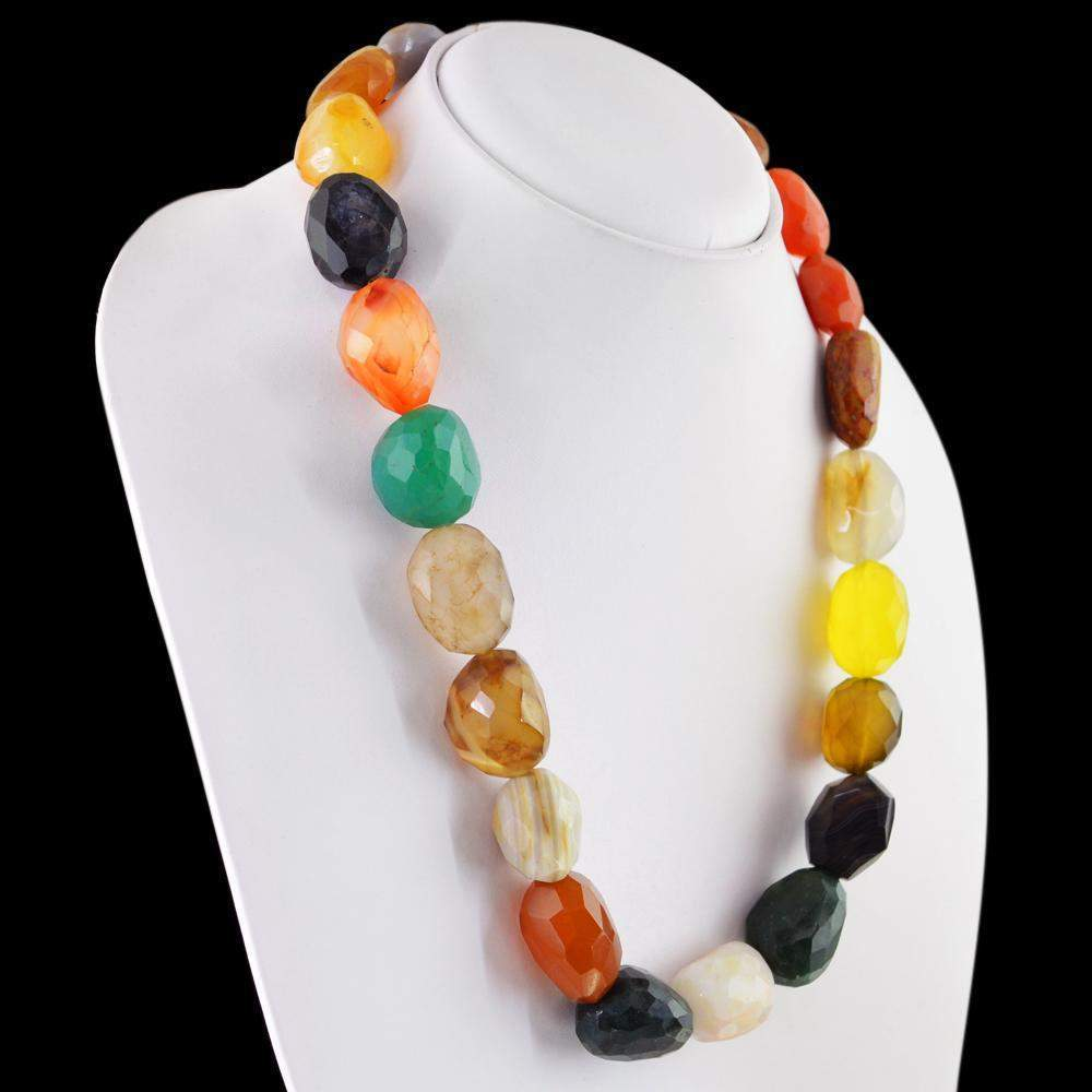 gemsmore:Multicolor Onyx Necklace Natural Faceted 20 Inches Long Untreated Beads