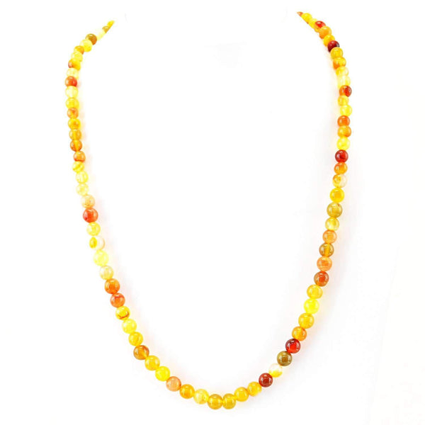 gemsmore:Multicolor Onyx Necklace Single Strand Natural Round Beads