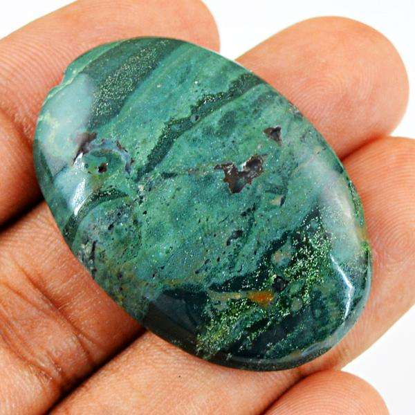 gemsmore:Natura Oval Shape Forest Green Jasper Untreated Loose Gemstone