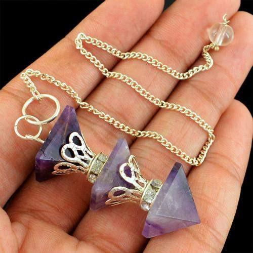 gemsmore:Natural 12.02 Gms Purple Amethyst Attractive Pendulum