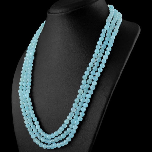 gemsmore:Natural 3 Line Blue Aquamarine Necklace Round Shape Beads