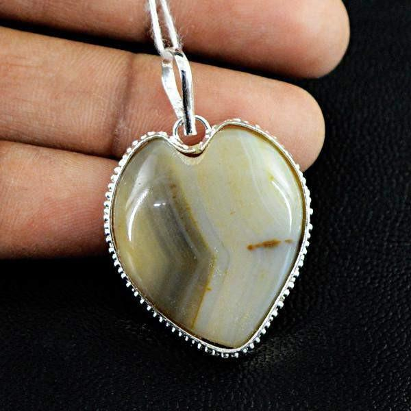 gemsmore:Natural Agate Gemstone Untreated Pendant