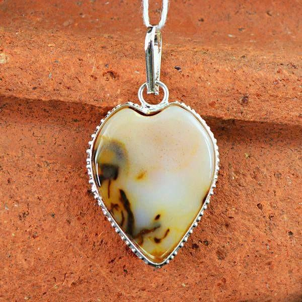 gemsmore:Natural Agate Untreated Pendant