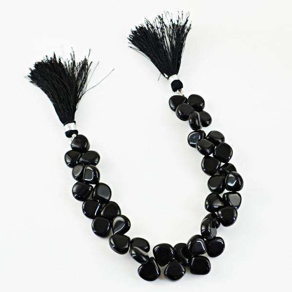 gemsmore:Natural Amazing Black Onyx Pear Shape Drilled Beads Strand