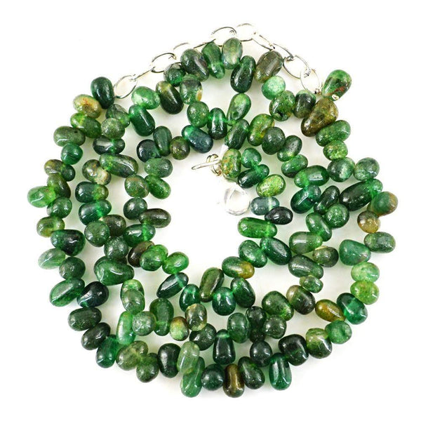 gemsmore:Natural Amazing Green Jade Necklace Untreated Tear Drop Beads