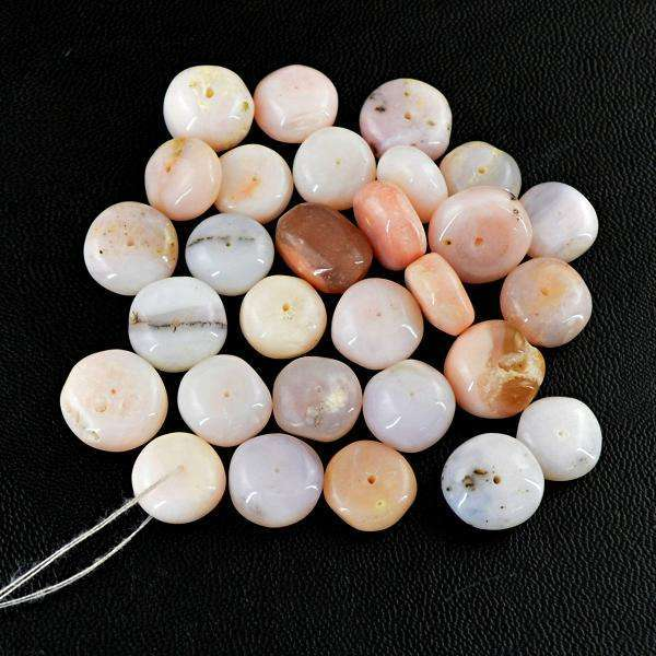 gemsmore:Natural Amazing Round Shape Pink Australian Opal Drilled Beads Lot