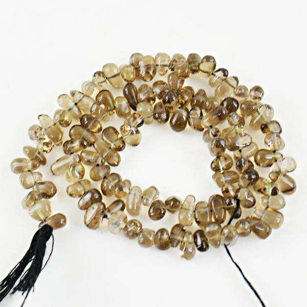 gemsmore:Natural Amazing Smoky Quartz Tear Drop Drilled Beads Strand