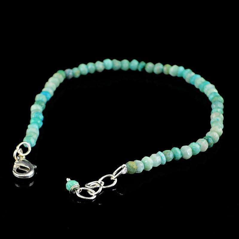 gemsmore:Natural Amazonite Bracelet Round Shape Faceted Beads