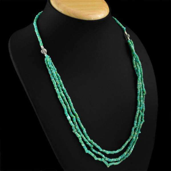 gemsmore:Natural Amazonite Necklace 3 Line Untreated Beads
