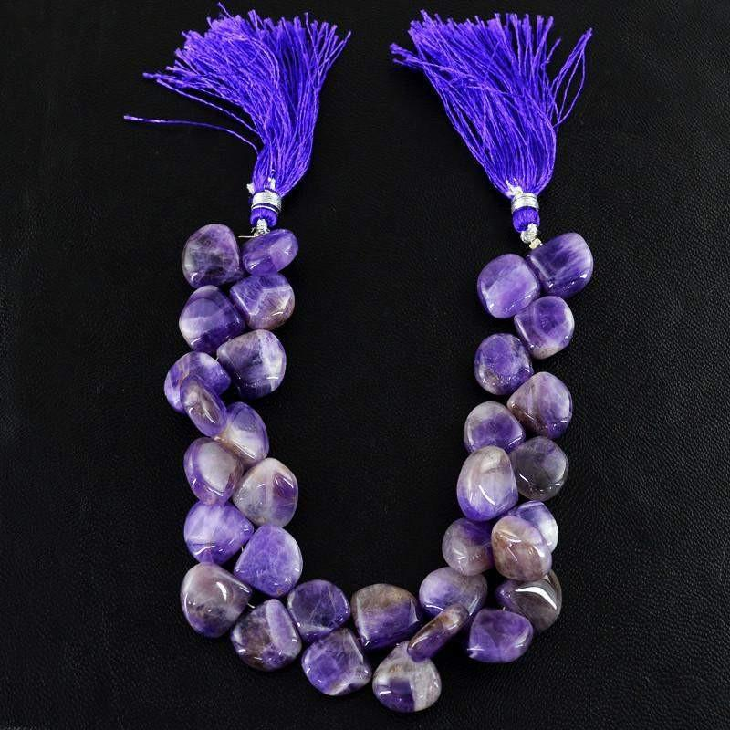 gemsmore:Natural Bi-Color Amethyst Untreated Tear Drop Beads Strand