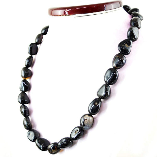 gemsmore:Natural Black Onyx Necklace 20 Inches Long Untreated Beads
