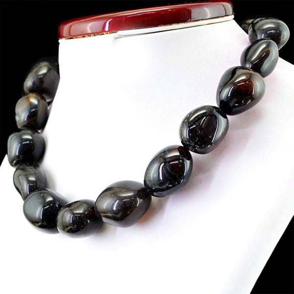 gemsmore:Natural Black Onyx Necklace Single Strand Untreated Beads