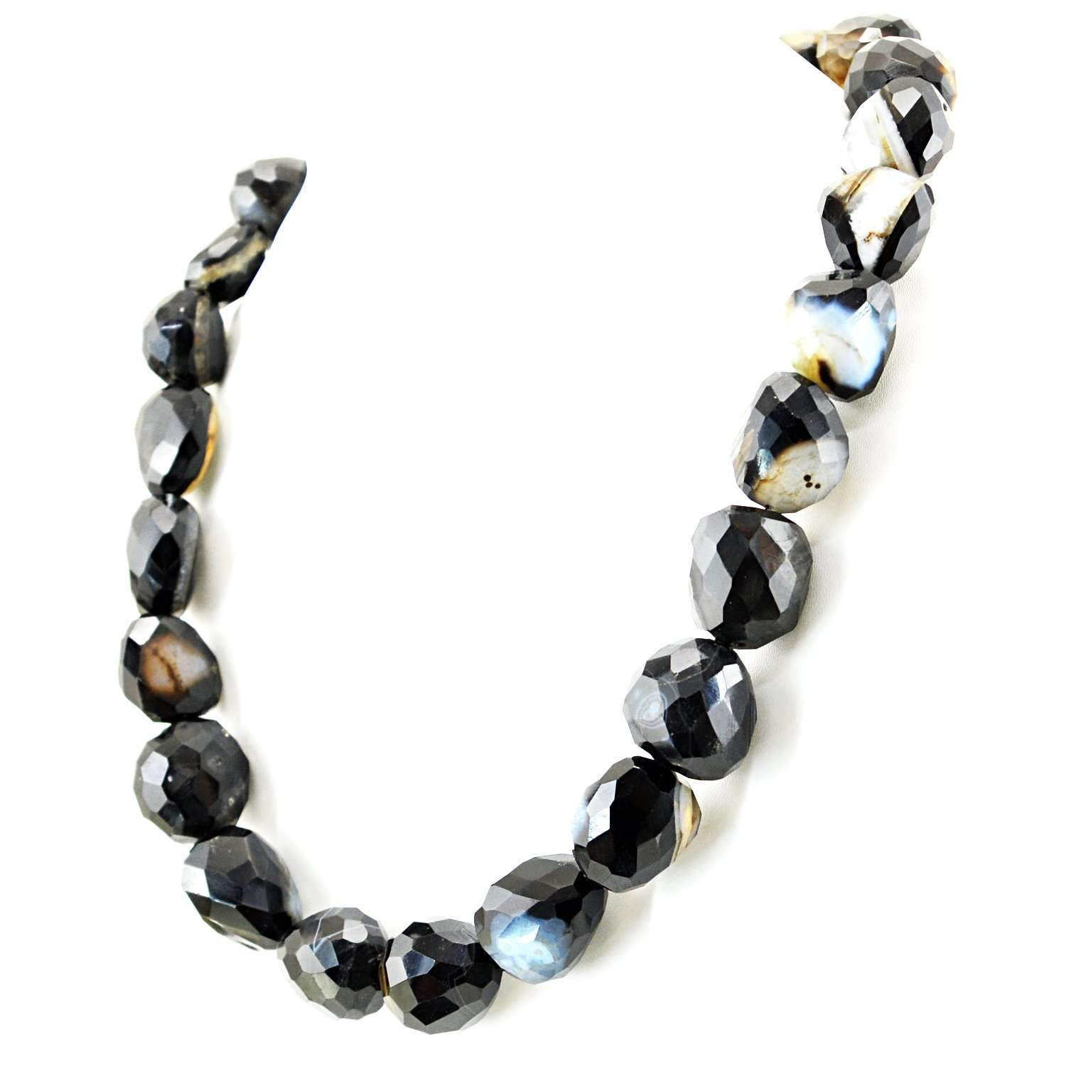 gemsmore:Natural Black Onyx Necklace Single Strand Untreated Faceted Beads