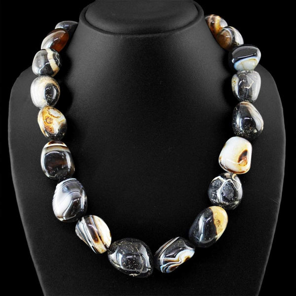gemsmore:Natural Black Onyx Necklace Untreated Beads - Single Strand